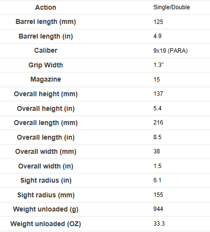 M9 Specs per Beretta USA