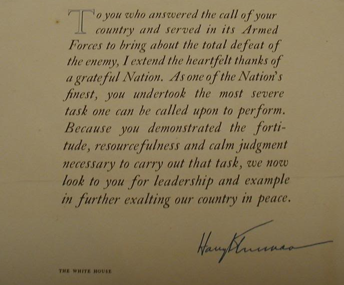 Letter from Harry Truman to WWII servicemen
