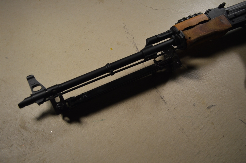 "Bipod as folded. Note the AES-10B features a US-made slanted muzzle brake. This is not ""correct"" for an RPK of any origin."