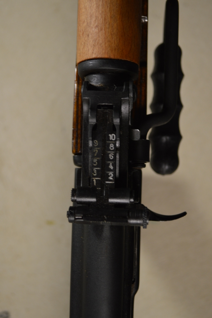 The RPK's rear sight leaf is adjustable for windage, unlike standard AK parts.