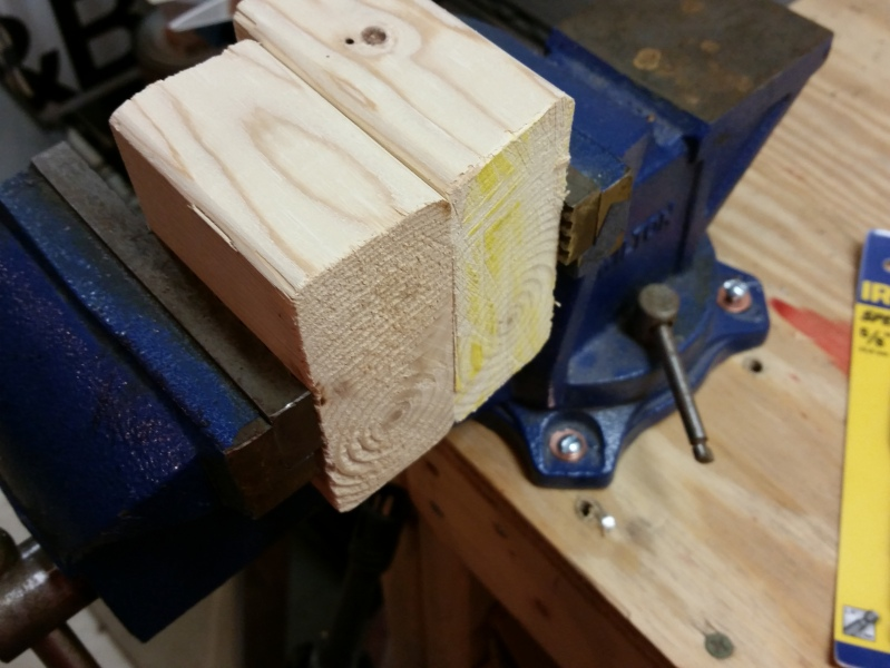 Clamp the blocks down in the vise.